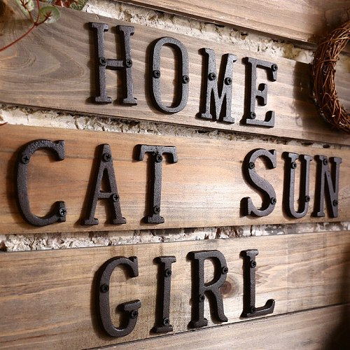 Metal Letters Numbers Cast Iron Decoration House Sign Doorplate DIY Cafe Wall Home Decoration Accessories Room Decoration