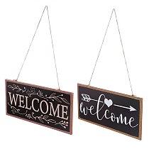 2pcs Wooden Door Sign Board Welcome Hanging Decor Wood Door Hanging Ornament