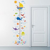1pc Height Growth Chart Wall Sticker Kids Boys Girls Underwater Sea Fish Anchor Finding Decorative Decor Decal Poster