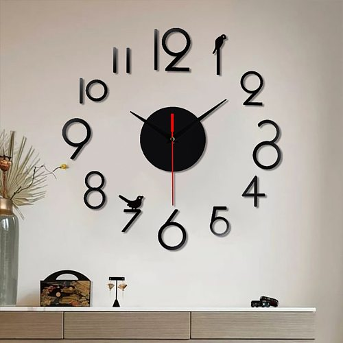 DIY Wall Clock 3D Mirror Surface Sticker Home Office Decor Clock Acrylic Mirror Stickers Watch For Home Living Room Decoration