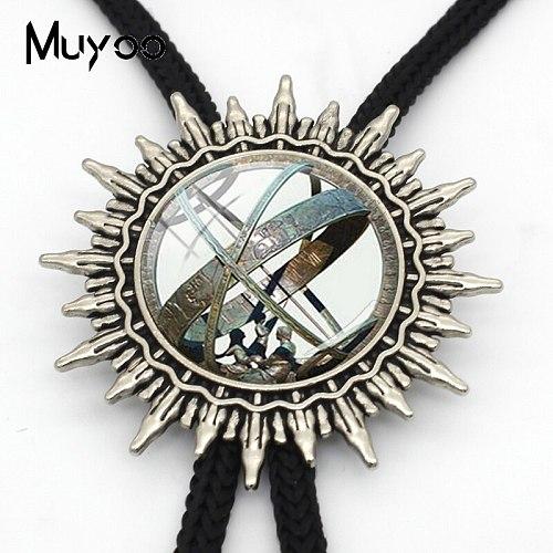 BOLO-0148 Astronomical Sundial Globe Pendant Astronomy Bolo Tie Aqua Fashion Vintage Astronomy Science Necktie Jewelry