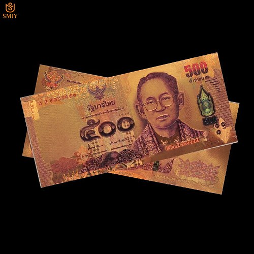 Thailand Colorful Currency 500 Baht Gold Banknote in 24k Gold Plated Paper Money Banknote Collection And Home Decorations
