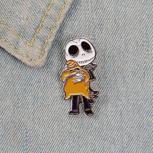 Jack Skellington Enamel Badges Nightmare before Christmas Oogie Boogie Pumpkin King Halloween Movie Jewelry Brooches Lapel Pins