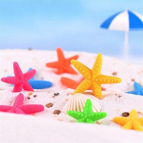 6pcs/lot Mini Crafts Natural Sea Star Starfish Shells Tablet Micro Landscape Nautical Decoration 5 Colors Size: 3*3cm