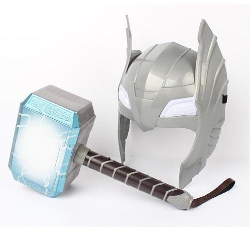 [Funny] Child Cosplay LED light luminous sounding Helmet Weapon mjolnir hammer quake model toy Costume party gift