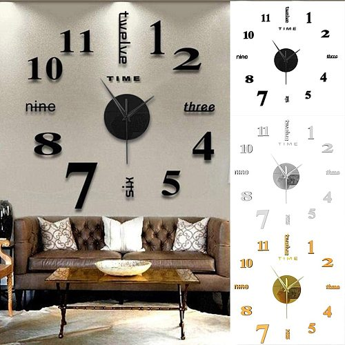 1pc Diy Clock(50x50cm)Frameless DIY Wall Mute Clock 3D Mirror Surface Sticker Home Office Decor Home decoration campana c50