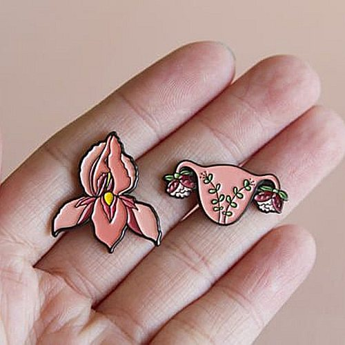 Feminism Blooming Uterus Flower Enamel Brooch Pins Badge Lapel Pins Alloy Metal Fashion Jewelry Accessories Gifts