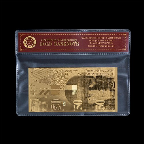 WR Switzerland 50 Swiss Franc Gold Foil Banknotes with Plastic Coa Frame Fake Money Bills Bank Note Souvenirs Gift Dropshiping
