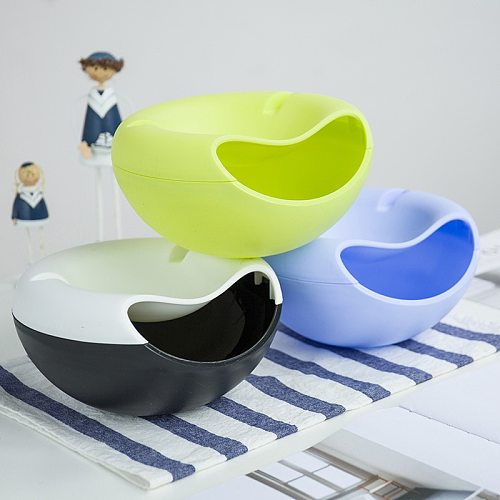 Lazy Snack Bowl Plastic Double-Layer Snack Storage Box Bowl Fruit Bowl And Mobile Phone Bracket Chase Artifact Plate Bowl