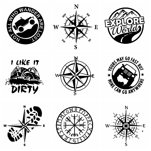 10 Styles Compass And Adventure Design Cars Pattern Car Sticker For Auto Motorcycle Body Styling Decoration Accessories Head PVC