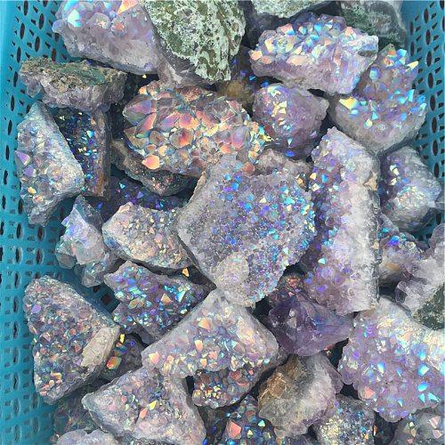 50-100 grams natural angel aura crystal cluster electroplating Titanium coating quartz cluster stone Healing
