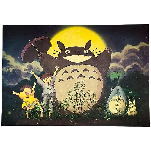 Totoro style D anime character poster collection kraft paper retro poster cafe bar decoration painting wall sticker
