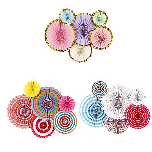6pcs Colorful Tissue Paper Wheel Fans Rosettes Set Wall Photo Backdrop Wedding Birthday Baby Shower Party Hanging Decor