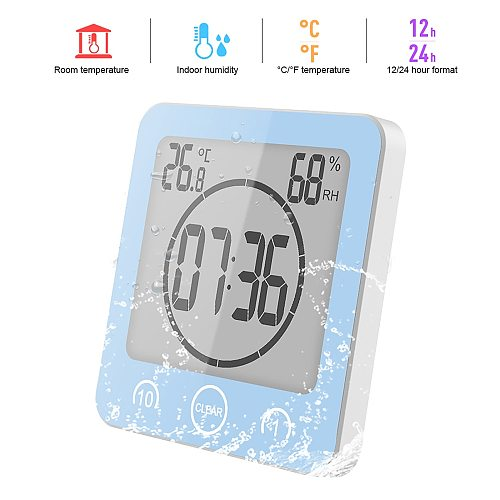 LCD Digital Waterproof For Water Splashes Bathroom Wall Clock Shower Clocks Timer Temperature Humidity Kitchen Wash Room Timers