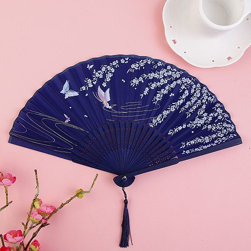 Vintage Style Silk Folding Fan Chinese Japanese Pattern Art Craft Gift Home Decoration Ornaments Dance Hand Fan  7 inches