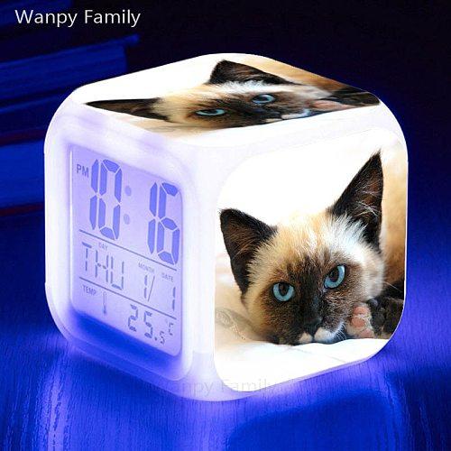 Pet Cat Digital MINI Alarm Clock Snooze Table Clock Wake Up Mute Calendar Dimmable Electronic Desktop clocks Kids Birthday Gift
