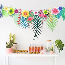 1 set summer tropical Hawaii party banners Monstera leaf flamingo pineapple banners for party decoration birthday party decors