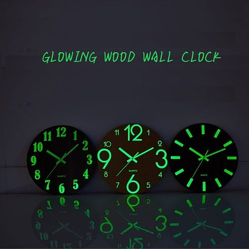 Wood Dark Glowing Clock Wall Non-Ticking Modern Design Brief Reloj De Pa with Night Lights For Indoor/Outdoor Balcon Living Room