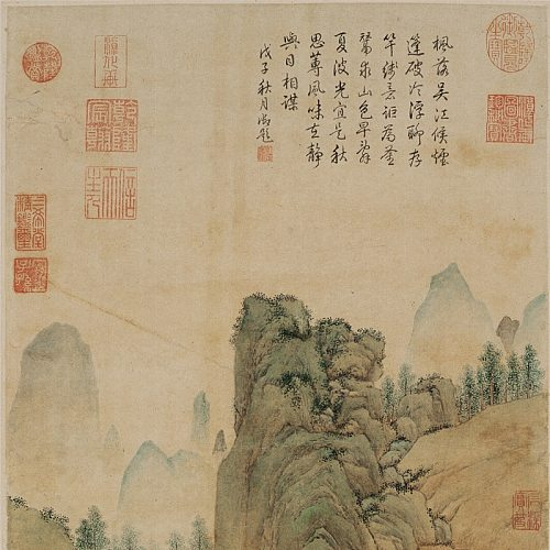 Ancient Chinese Artists  painter  the Ming dynasty  Qiu Ying  authentic work  Yashi fishing  Painting and Calligraphy  1: 1 Muse