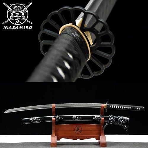 Japanese Samurai Katana Sword T10 steel Real Hamon Handmade Eagle Tsuba Battle Ready Very Sharp Full Tang