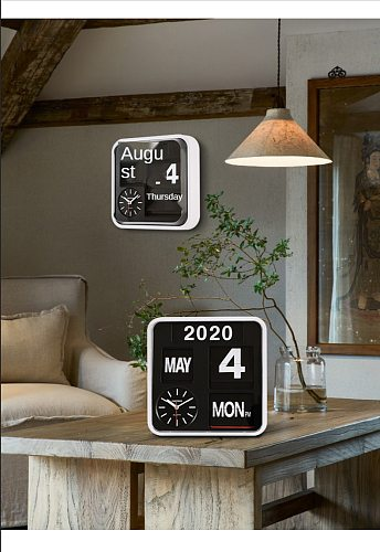 Fartech Large 43cm Page Turning Clock Automatic Mute Living Room Turning Clock Calendar Modern Fashion Home Creative Wall Clock