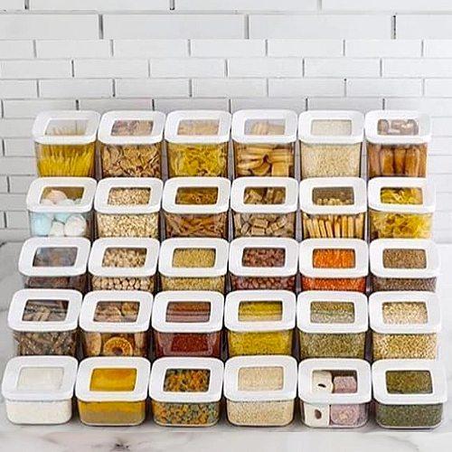 12 PCS Kitchen Food Storage Box Container Set Organizer Square Vacuum Lid Airtight Jars Pantry Noodle Legume Cereals Rice Pasta