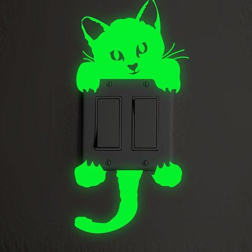 Glow in The Dark Switch Sticker Star Cat Wall Sticker Blue Luminous Angel Panda Switch Stickers Kid Room Home Decor
