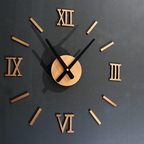 45X45cm Roman Numer 3D Watch Acrylic Mirrored Digital Wall Clock For Living Room Modern Design DIY Home Decor