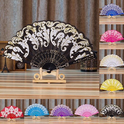 New Chinese Spanish Style Fan Dance Wedding Party Lace Silk Folding Hand Held Flower Decorative Fans Abanicos Para Boda Eventail