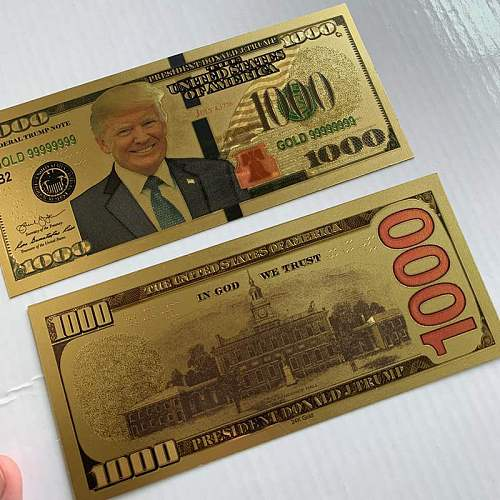 10PCS $1000 US Donald Trump Commemorative Coin President Banknote Non-currency
