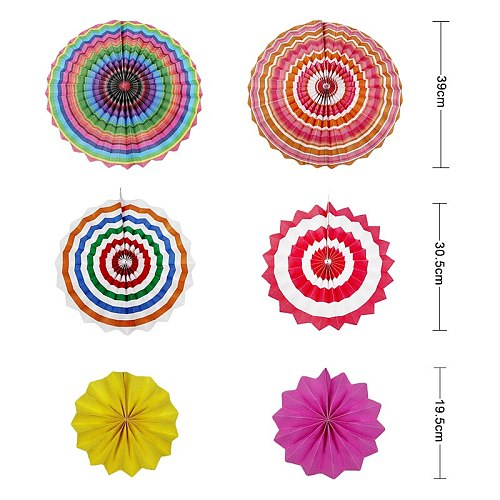 6pcs/set Paper Fans Set Hanging Pinwheels Fan DIY Paper Craft for Wedding Birthday Baby Shower Christmas Party Decoration