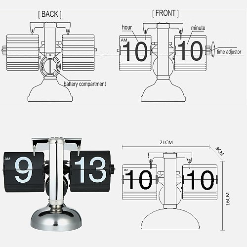 Retro Flip Over Desk Clocks Table Clock Small Scale Stainless Steel Flip Internal Gear Operated Quartz Clock Game Sports Timer