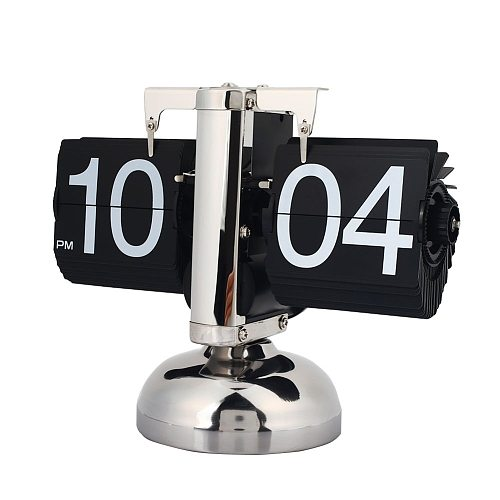 Desk Retro Quartz Flip Clock Gear Auto Flip Table Clock Single Matel Stand Modern Home Decor Internal Gear Operated Home Decor