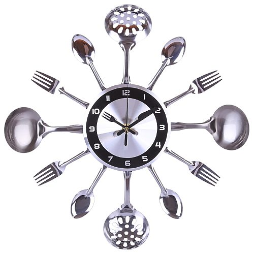 35cm Stainless Steel Kitchen Spoon Fork Clock Silent Wall Clock for Home Decor - Silver