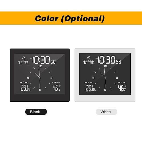 Wall-mounted Digital Alarm Clock Thermohygrometer Clock Indoor Hygrometer USB Clock with Dual Snooze Alarm Function Desktop