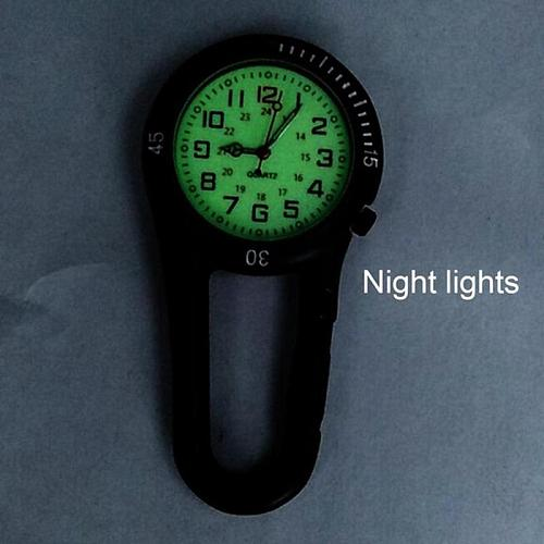 Vintage Clock Carabiner Compass Multifunctional Luminous Nurse Medical Sports Watches Pocket Fob Clip Backpack Charm Corkscrew