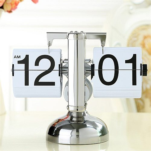 Creative Auto Flip Digital Projection Alarm Clock Despertador Vintage Modern Scale Metal Desk Clock Quartz Office Home Decor