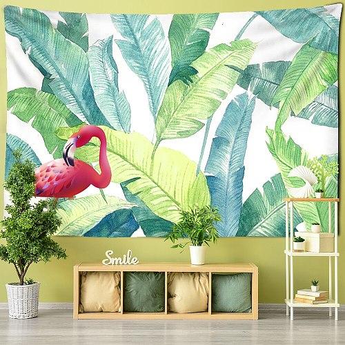 Crane Green Palm Leaf Tapestry Wall Hanging Little Fresh Hippie TAPIZ Bohemian Room Decor Background Cloth