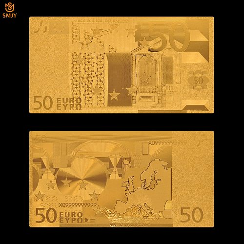 Euro Gold Banknote Colored 50 Euro Gold Plated Euro Bills Paper Money Plated 24k Gold Value Collection