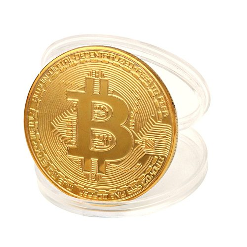Gold Plated Bitcoin Physical Bitcoins Casascius Bit Coin BTC With Case Gift Home Decoration Crafts Non-currency Coins