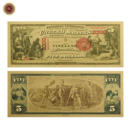 WR 1875 Year US 5 Dollar Gold Plated Banknote America Fake Money Bills USD Banknotes Non-currency Unique Gifts
