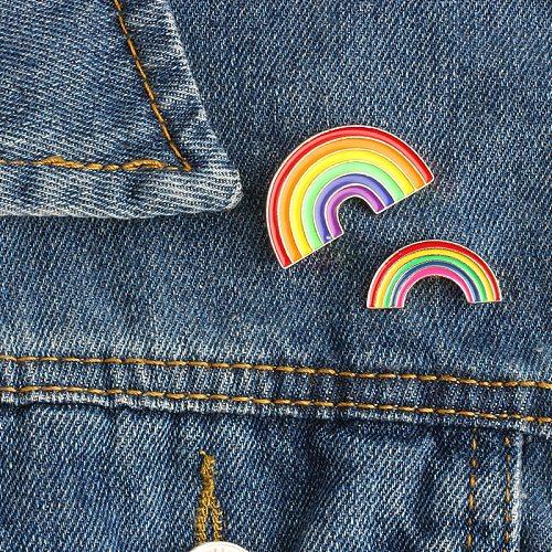Fashion Colorful Enamel Pin Brooches For Women Cartoon Creative Mini Rainbow Metal Brooch Pins Denim Hat Badge Collar Jewelry