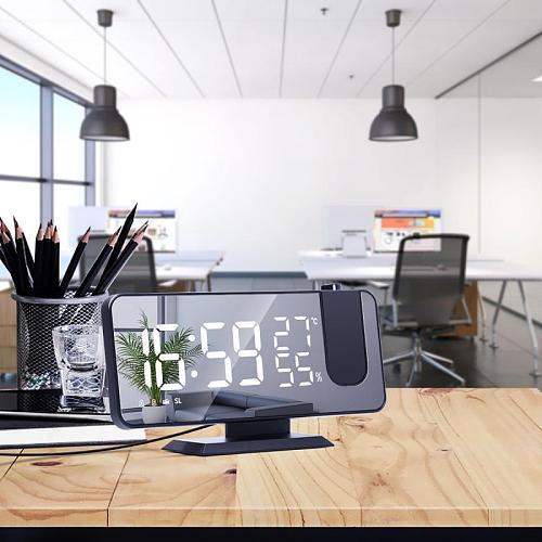 HOT FM Radio LED Digital Smart Alarm Clock Watch Table Electronic Desktop Clocks USB Wake Up Clock With Projection Time Snooze