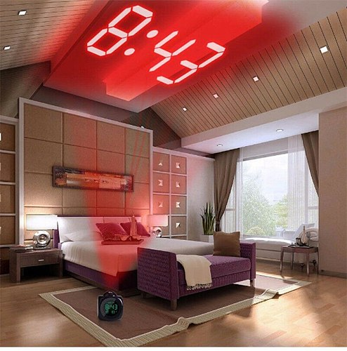 LCD Luminous Projection Desk Clock Voice Broadcast Time Digital Alarm Clock With Temperature Display Hourly Chiming Function