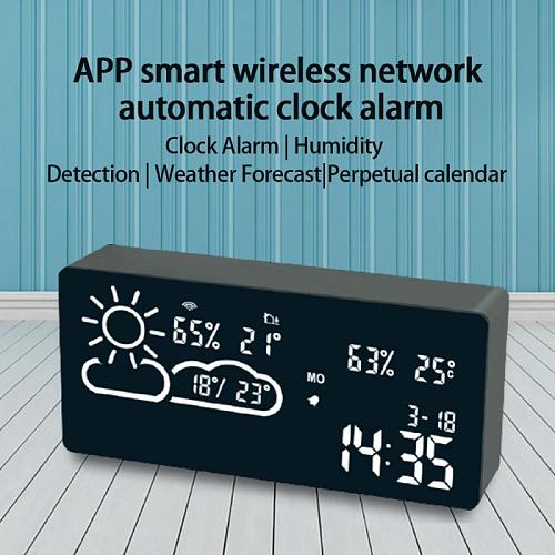 Multifunctional Smart WIFI LED Alarm Clock Automatic Proofreading World Time Weather Temperature Display Smart Home