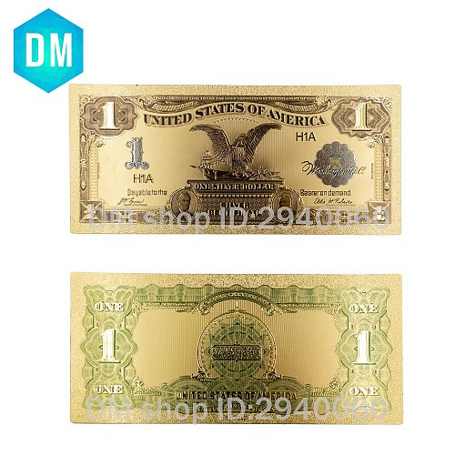 Hot Sale American Gold Banknote 1899 Year One Dollar Gold Plated World Paper Money Quality Art Crafts Golden Bill Note 10pcs