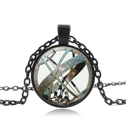 Astronomical Sundial Globe Pendant Astronomy Necklace Aqua Bronze Astrological Vintage Astronomy Science Jewelry Gifts