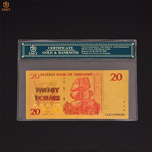 Zimbabwe 20 Dollars Money Gold  Banknotes Replic Currency Paper Collection And Gifts With COA Frame