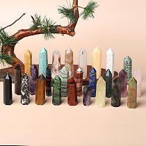 1PC Natural Gem Crystal Point Stick,Amethyst Rose Quartz, Energy Mineral Treatment Stone Crystal Column Craft Home Decoration