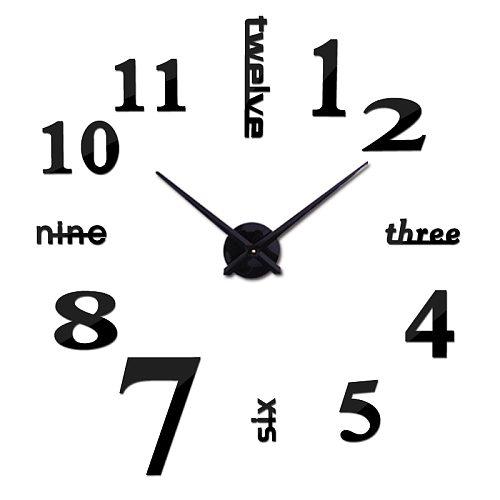 new Quartz wall clocks fashion watches 3d real big wall clock rushed mirror sticker diy living room decor free shipping